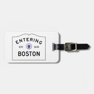 Étiquette À Bagage Étiquette de bagage de panneau routier de Boston