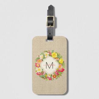 Étiquette À Bagage Étiquette de toile de bagage de guirlande florale