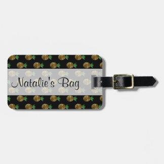 Étiquette À Bagage Étiquette d'or tropicale de bagage d'ananas