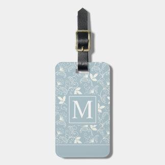 Étiquette À Bagage Étiquette florale élégante de bagage du monogramme