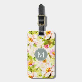 Étiquette À Bagage Étiquette florale vintage de bagage de monogramme