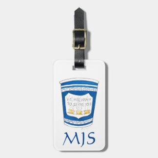 Étiquette À Bagage Étiquette grecque de bagage de monogramme de tasse