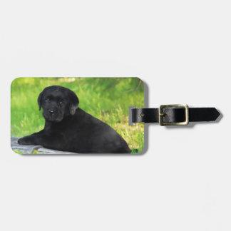 Étiquette À Bagage Étiquette noire de bagage de chiot de chien de