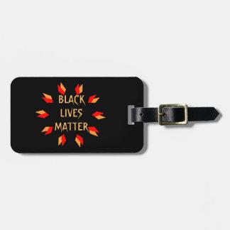 Étiquette À Bagage Étiquette noire de bagage de matière des vies