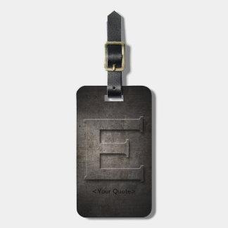 Étiquette À Bagage Étiquette noire en bronze de bagage de monogramme