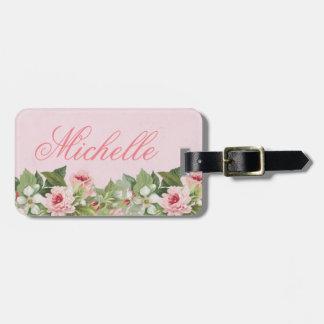 Étiquette À Bagage Étiquette nommée florale élégante de bagage avec