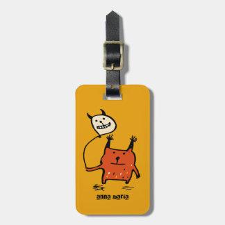 Étiquette À Bagage Étiquette orange mignonne de bagage de monstre