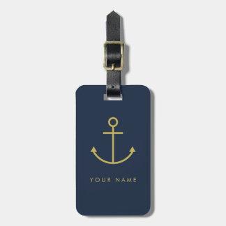 Étiquette À Bagage Étiquette personnalisable de bagage d'ancre d'or