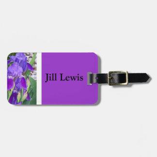 Étiquette À Bagage Étiquette pourpre de bagage d'iris
