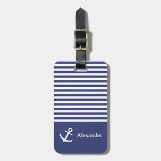 Étiquette À Bagage Étiquette rayée de bagage de Nautica de nom fait