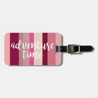 Étiquette À Bagage Étiquette rayée de bagage de temps d'aventure