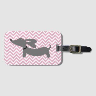 Étiquette À Bagage Étiquette rose et grise de sac de bagage de chien