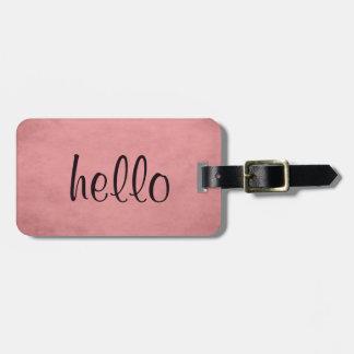 Étiquette À Bagage Étiquette rose texturisée chic moderne de bagage
