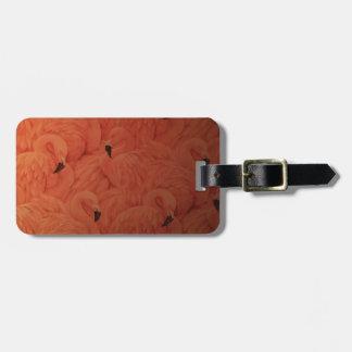 Étiquette À Bagage Étiquette rose tropicale de bagage de flamants