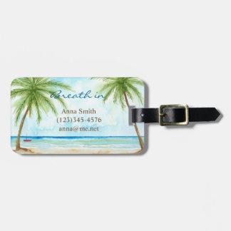 Étiquette À Bagage Étiquette tropicale de bagage de paumes