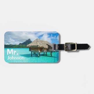 Étiquette À Bagage Étiquette tropicale de bagage de voyage