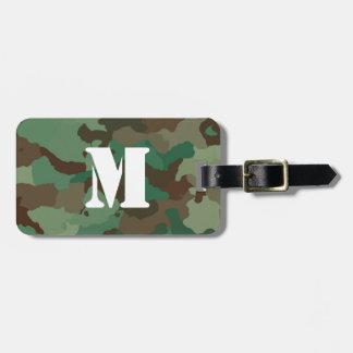 Étiquette À Bagage Étiquette verte de bagage de Camo avec le