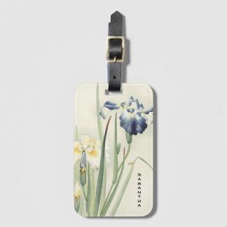 Étiquette À Bagage Étiquette vintage de bagage de fleur d'iris