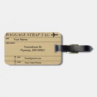 Étiquette À Bagage Étiquettes de couture vintages de bagage de motif