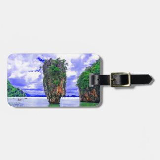 Étiquette À Bagage Falaises tropicales d'île de forêt tropicale