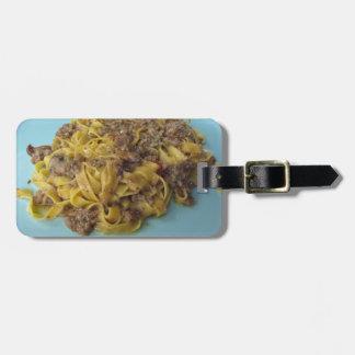 Étiquette À Bagage Fettuccine frais italien avec des champignons de