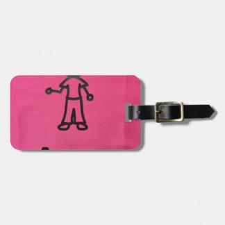 Étiquette À Bagage Fille Clipart avec le nom de l'enfant