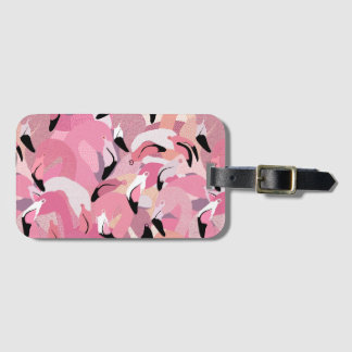 Étiquette À Bagage Flamants dans l'étiquette rose de bagage
