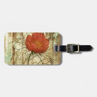 Étiquette À Bagage fleur affligée rustique de pavot en bois de grange