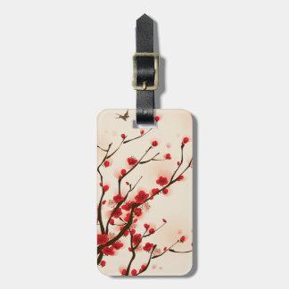 Étiquette À Bagage Fleur asiatique de prune de peinture de style au