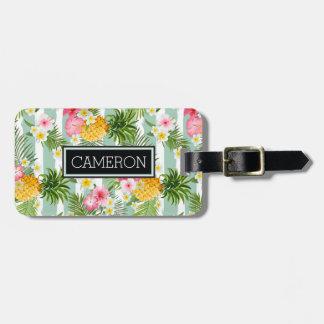 Étiquette À Bagage Fleurs et ananas tropicaux sur les rayures