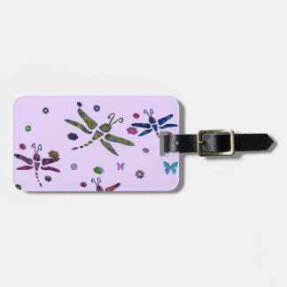 Étiquette À Bagage fleurs et libellules colorées