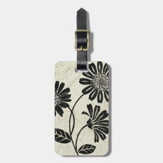 Étiquette À Bagage Fleurs noires et blanches 2