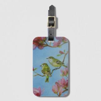 Étiquette À Bagage Fleurs roses d'amis d'oiseau de Kinglet couronnées