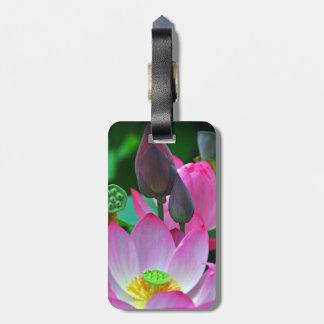 Étiquette À Bagage Fleurs roses de Lotus