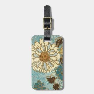Étiquette À Bagage Floral décoratif dans bleu et blanc