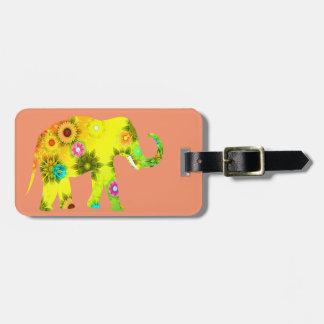 Étiquette À Bagage Floral, éléphant, drôle, coloré