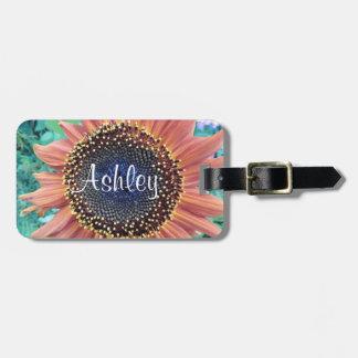 Étiquette À Bagage Floral personnalisé par photo rose de tournesol