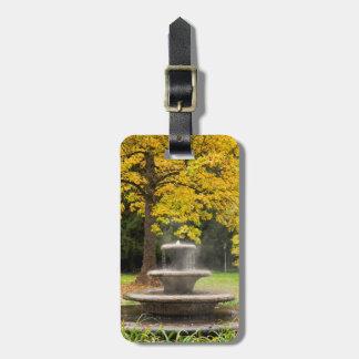 Étiquette À Bagage Fontaine par un arbre dans la chute, Allemagne