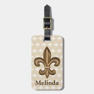 Étiquette À Bagage Français Gold Fleur de Lis Crest et nom