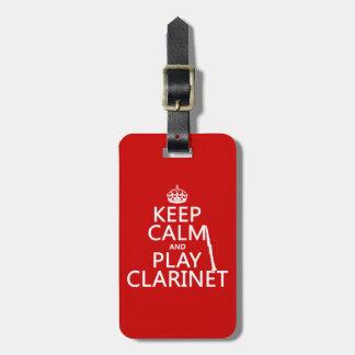 Étiquette À Bagage Gardez la clarinette de calme et de jeu (toute