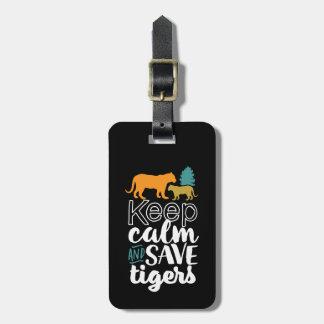 Étiquette À Bagage Gardez l'amoureux des animaux de faune de tigres