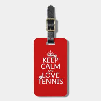 Étiquette À Bagage Gardez le calme et aimez le tennis
