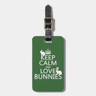 Étiquette À Bagage Gardez le calme et aimez les lapins - toutes les