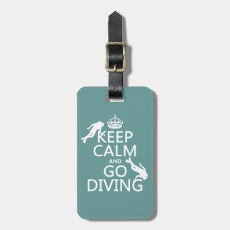Étiquette À Bagage Gardez le calme et allez (scaphandre) plonger