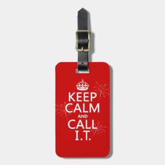 Étiquette À Bagage Gardez le calme et appelez-LE (toute couleur)