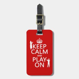Étiquette À Bagage Gardez le calme et le jeu sur (cannelure) (tout