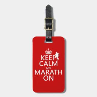 Étiquette À Bagage Gardez le calme et le Marath dessus