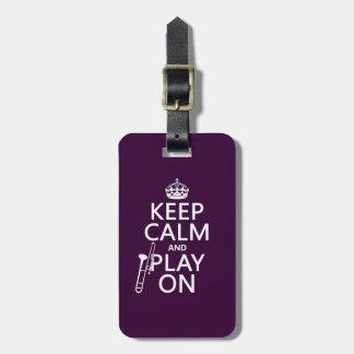 Étiquette À Bagage Gardez le calme et l'os sur (trombone) (toute