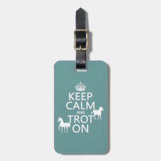 Étiquette À Bagage Gardez le calme et trottez dessus - des chevaux -