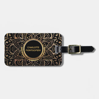 Étiquette À Bagage Girly décoré d'un monogramme noir du mandala | de